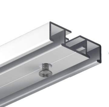 Gardineum 360 cm Vorhangschiene, Gardinenschiene, alle Längen bis 4,60 m möglich, Aluminium, weiße Oberfläche, 2-läufige Objektschiene, vorgebohrt