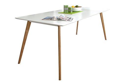 Riess Ambiente Design Retro Esstisch Scandinavia 200cm weiß Echt Eiche Eichenholz Massivholz Küchentisch Holztisch