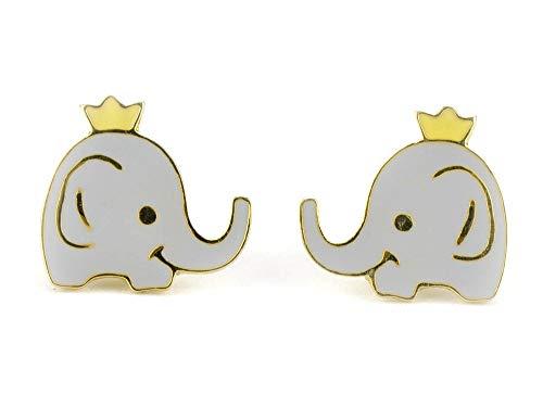 Monkimau 750 Gold plattierte Elefanten Ohrringe Krone Afrika Kinder-Schmuck Damen Frauen Mädchen-Ohrstecker Geschenk-e
