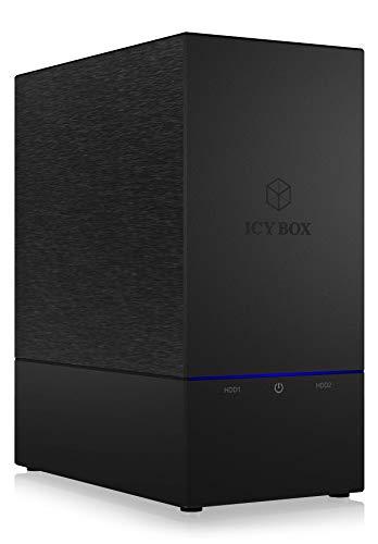 Icy Box IB-RD3621U3 Externes RAID-System (0/1/Single/Large) für 2X 3,5 Zoll SATA HDD, USB 3.0 (UASP), SATA III, Lüfter, Standby, schwarz