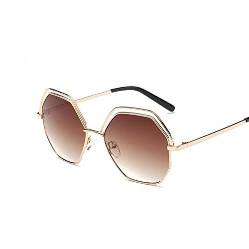 Tocoss (TM Korean Sonnenbrille Frauen Sechseck Spiegel Sun Glasses weibliche Steampunk Damen Sonnenbrille Oculos, Goldbraun