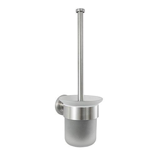 Badserie Ambiente - WC-Garnitur, WC-Bürste, Toilettenbürste aus satiniertem Glas und robustem Edelstahl matt - zur Wandmontage