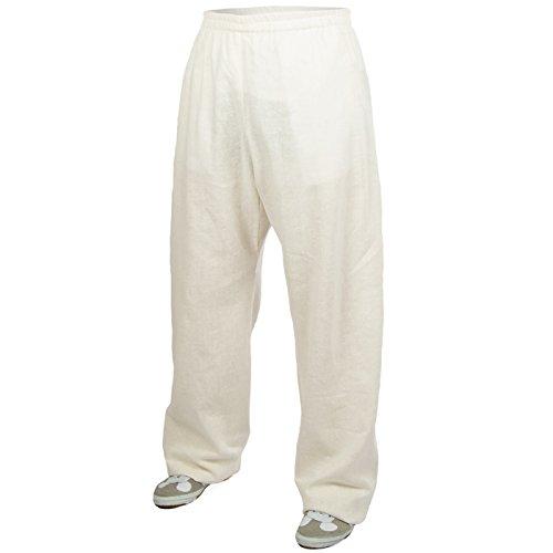 Lino (Grave) Training-Pantaloni da Kung Fu-Wushu-Tai Chi-Taiji-Martial Arts--Sport-Yoga-tempo libero, bianco,
