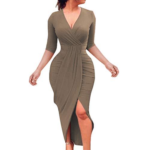 LILIHOT Frauen V-Ausschnitt Verband Bodycon beiläufige halbe Hülsen Partei Abend dünnes Kleid Abendkleider Damen Hoch Taille Etuikleid Laternenhülse Bleistiftrock Vintage Etuikleid Elegant (Hohe Partei -)