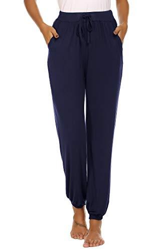 Unibelle Yogahosen Lang Hose Jogginghose Lose Sporthose Freizeit Hose Schlafanzughose mit Tasche für Damen Navyblau-L