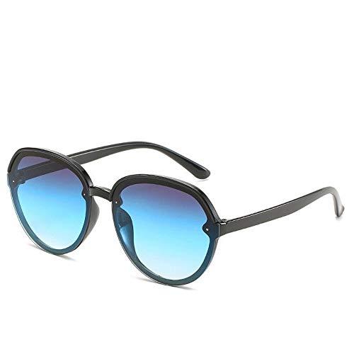 WDDYYBF Sonnenbrillen, Casual Übergroße Aviator Sonnenbrille Für Frauen Männer Aus Magnesiumlegierung Fashion Beach Reise Uv400 Schwarzen Rahmen, Blaue Linse