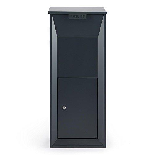 Waldbeck Postbutler • Paketbox • Paketpostkasten • Standbriefkasten • Tür mit Dämpfer und 3-Punkt-Schloss • Bodenverankerung • für Pakete bis 33x19x30cm • dunkelgrau - 3