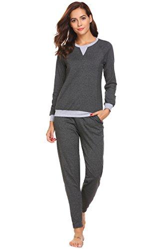 ADOME Damen Zweiteiliger Schlafanzug Langarm Pyjama Freizeitanzug Hausanzug Anzug Lang, Dunkelgrau780, EU 38(Herstellergröße: M)