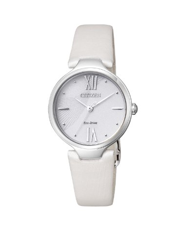 Citizen Citizen L EM0040-12A - Reloj analógico de cuarzo para mujer, correa de cuero color blanco (solar)