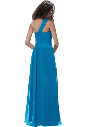 Sunvary Modern spalle formale Prom Gowns anteriore Split, Party Dresses Blue