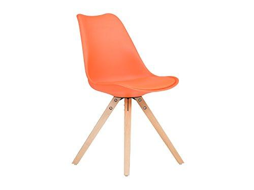 massivum Retro-Esszimmer-Stuhl California 49x83x53 aus Holz natur lackiert und Kunststoff orange mit Kunstlederkissen