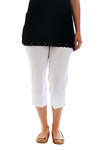 Neu Damen Übergröße Ebene Hose Geerntet Stilvoll Frau Ladies Plus Size Cropped Trousers Bengaline Pant Nouvelle Collection 6053 (Größe M, Weiß) (Womens Plus Size Weiße Capris)