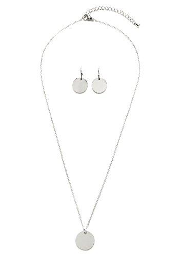 Happiness Boutique Damen Schmuckset Kreis in Silberfarbe | Kette mit Kreis Anhänger und Kleine Ohrringe mit Plättchen Geometrisches Minimalist Design (Besten Duo Kostüme 2017)