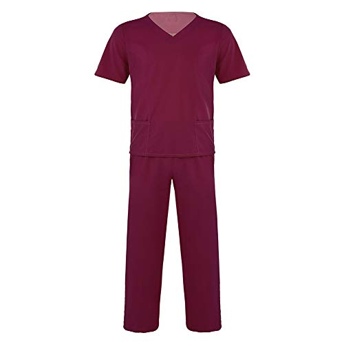 Unisex Adult Hospital Doctor Krankenschwester Peelings Uniform Anzüge mit kurzen Ärmeln Tops mit Langen Hosen Medical Service Kostüm Set,WineRed,S (Medical Uniform Top Und Hose)