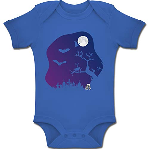 Shirtracer Anlässe Baby - Friedhof gruselig Totenkopf Mond - 12-18 Monate - Royalblau - BZ10 - Baby Body Kurzarm Jungen Mädchen