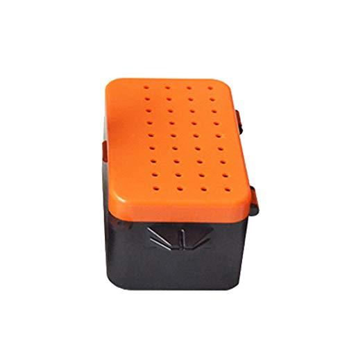 Lorsoul Kunststoff Fischköder Wurm Box mit Doppelschichten, Köder Breathable-Speicher-Fall, Live-Wurm-Container - M -