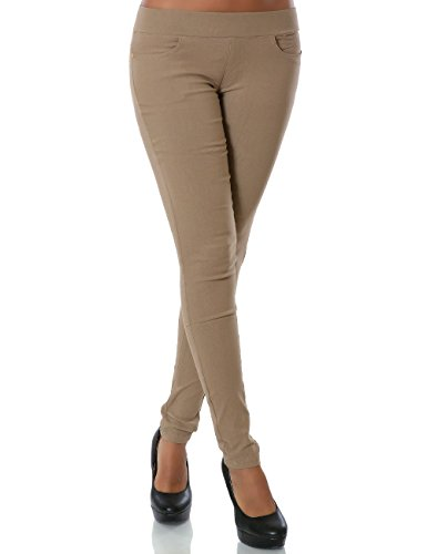 Skinny Khaki-hosen (Damen Treggings Hose Skinny (Röhre weitere Farben) No 14028, Farbe:Khaki, Größe:XXL / 44)