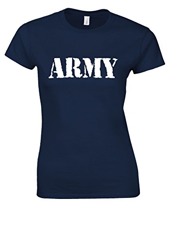 Army Military US British Surplus Novelty White Women T Shirt Top Bleu Foncé