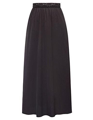 Krinoline Petticoat Kostüm Slip - Kate Kasin Ladies Juniors Underwear Underskirt Damen Full Slip Maxi Länge Plain Petticoat Schwarz 1112 X-Large