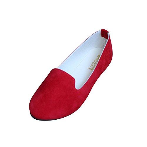 Mujer - Bailarinas Básicas - Piel Sintética - Color del Primo - Chic Elegante y Moda,Rojo,EU 35