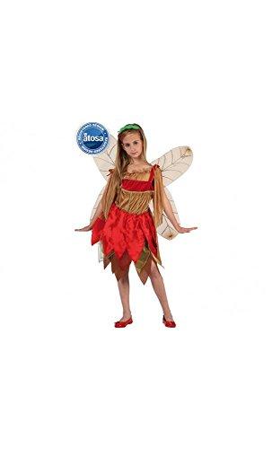 Mela Proibita - Kostüm Karnevalskostüm Mädchen Kleid Fee Herbst doppelt Flügel Fest - Mehrfarben, 5/6 Jahre