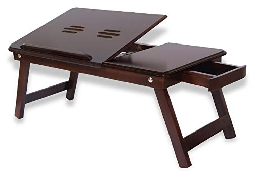 Amaze Shoppee Multipurpose Foldable Bed Table (Walnut Finish, Brown)