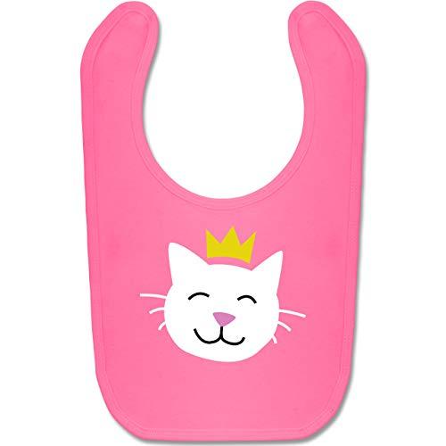 Shirtracer Tiermotive Baby - Katze Prinzessin - Unisize - Pink - BZ12 - Baby Lätzchen Baumwolle