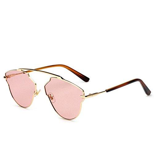 RLJJSH Sonnenbrillen Metall Frosch Spiegel Mode polarisierte Sonnenbrille Männer und Frauen Farbe beschichtete Linse beiläufige Sonnenbrille Sonnenbrille (Farbe : Rosa, größe : One Size)