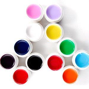 Pro Nail Art 12 couleurs solide véritable de gel UV de couleur Cure par lampe UV