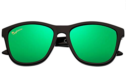 Capraia Durella Stylish Sunglasses Ultra Light High Quality TR90 Black Frame Green Mirrored Polarised Lenses UV400 protected Mens Womens
