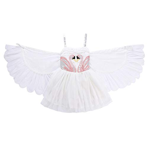 NNDOLL Kostüm Karneval d'Halloween Kleid Schwan-Engelsflügel von Flamingos Prinzessin 120