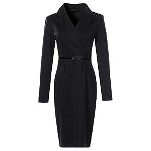 Langärmliges Kleider Für Damen A-Linie Langes Kleid Anzugkragen Mit Bleistiftkleid Slim Fit Hüftkleid Langarm Resplend V-Ausschnitt Dress Wear to Work