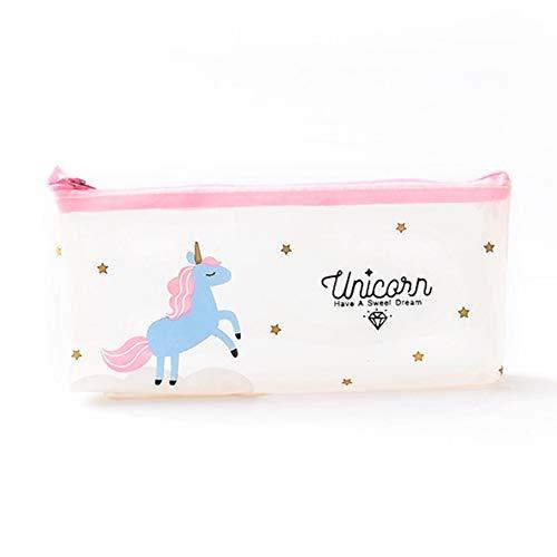 Zhongjiany - Estuche lápices cierre unicornio, transparente