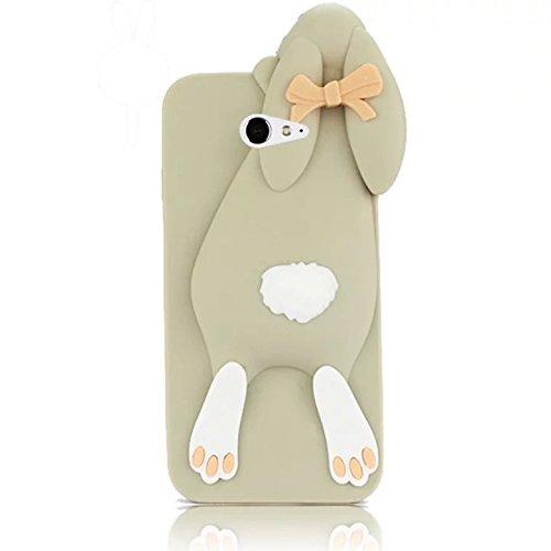 Sunroyal 3D Fashion Case Cute Funny Süße Silikon Schutzhülle Buck Teeth Bunny Rabbit Soft Weichem Handy Tasche für Sony Xperia M2 Karikatur Cartoon Zubehör Set Handyhülle Etui Skin Shell Zurück Rückseite, Gray Grau
