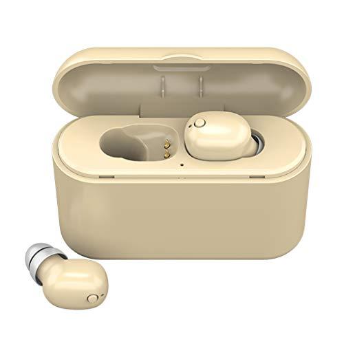 HSKB Bluetooth Kopfhörer, Wrieless Sport in Ear Ohrhörer Bluetooth V5.0 Stereo Sound mit Mikrofon und Mini Ladebox Noise Cancelling Headset für iPhone für Samsung usw (Beige)