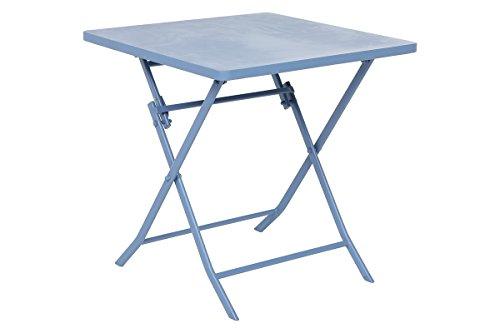 Table pliable OREGON carré bleuet, Dim L.70cm x P.70cm x H.71cm -PEGANE-
