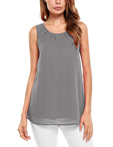 Beyove Damen Ärmellose Chiffonbluse Sommer Elegant Weste Top Hemdbluse Sommerbluse Loose fit T Shirt (EU 46(Herstellergröße: XXL), B+Grau)