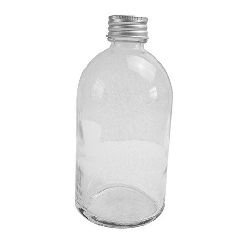 MagiDeal Schmale Mund Ersatzkaraffe, Wasserkaraffe Karaffe Glaskaraffe mit Aluminium Deckel, Glas Tasse Krüge mit Aufkleber Aluminium-krug