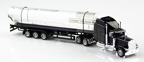 Schwarzer Truck aus Metall mit handgefertigtem Glastank, leer, befüllbar, Füllmenge 200ml, zum Selbstbefüllen, Gesamt-Länge ca. 31,5 cm, inkl. Blistergeschenkverpackung. Der LKW wird leer geliefert, zum Selbstbefüllen.