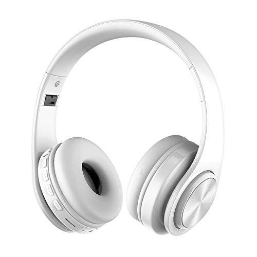 Alitoo Kabellose Bluetooth Kopfhörer mit Mikrofon, Rauschunterdrückung Faltbare Headset über Ohr, Portable Kompatibel mit Smartphones, Tablets, PC, iPads, Laptops (White)