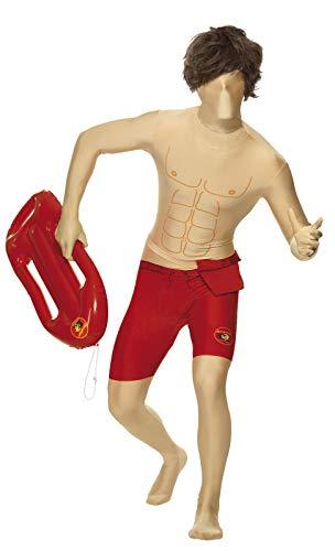 Smiffys, Herren Baywatch Second Skin Shorts Kostüm, Ganzkörperanzug mit Bauchtasche, verdecktem Hosenschlitz und Öffnung unter dem Kinn, Größe: M, 24240