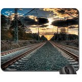 dual train tracks straight to a sunset Mouse Pad, Mousepad