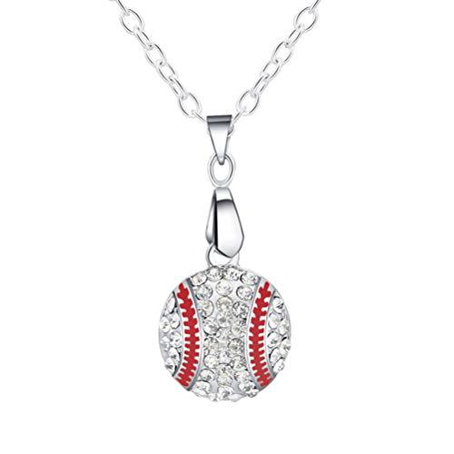 BESTOYARD Halskette Baseball Anhänger Halskette Kristall Sport Ball Schmuck für Frauen Mädchen