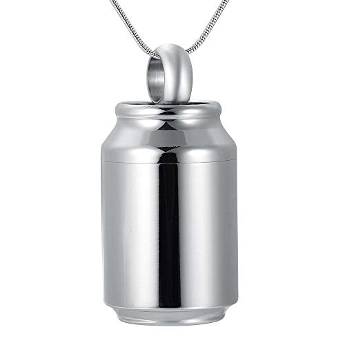 Andenken Asche Gedenkurne Urne für Asche Glänzend polierter Edelstahl Feuerbestattung Anhänger Halskette Gedenkzylinder Box Herrenschmuck