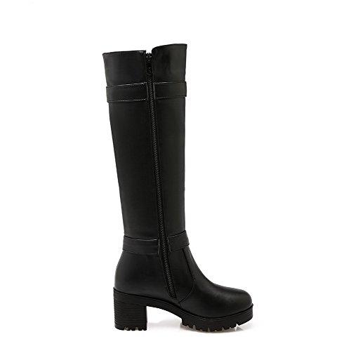 AllhqFashion Damen Mittler Absatz Weiches Material Rein Reißverschluss Stiefel, Schwarz, 40