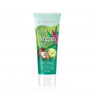 Eveline Cosmetics Crème active de jour Huile d'argan bio, huile de pépins de raison, aloe, 12 herbes Hydratation 24h Soin fermeté, anti-âge, régénérant et apaisant