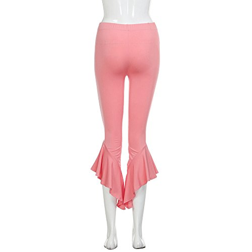 Topgrowth Donne Boho Yoga Pantaloni Hippie Gamba Larga Campana Svasata Bottom Irregolare Ruffle Casuale Trouser Pants Rosa