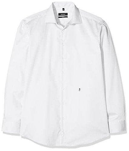 Seidensticker Herren Business Hemd Comfort Fit - Bügelfreies Hemd mit Kent-Kragen und bequemem Schnitt - Langarm - 100% Baumwolle, Blau (Weiß 1), 45 CM