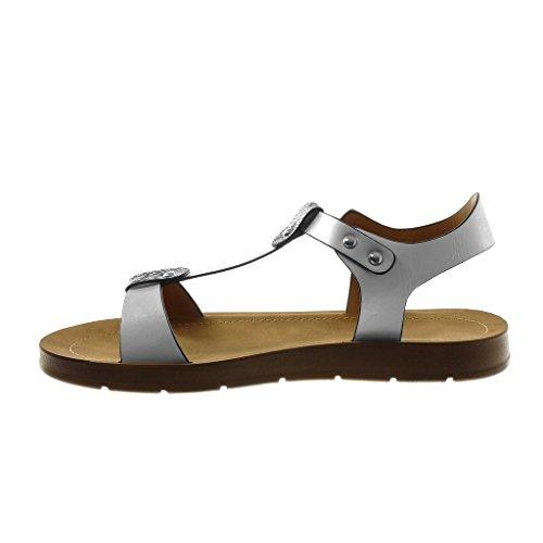 Angkorly Chaussure Mode Sandale Lanière Cheville Salomés Femme Peau de Serpent Lanière Clouté Talon Compensé 2 cm Blanc