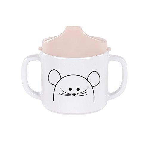LÄSSIG Tasse Trinklernbecher Schnabeltasse Kinder Baby Kleinkind mit Henkeln rutschfest spülmaschinengeeignet Melamin, Little Chums Mouse, rosa -